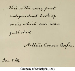 Conan Doyle inscription in Beeton's Christmas Annual copy R20