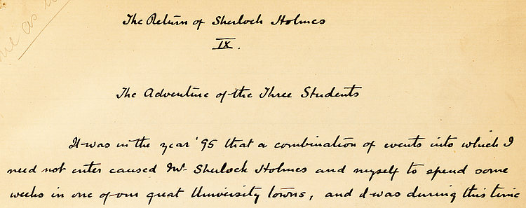 Photo from first page of a Sherlock Holmes manuscript