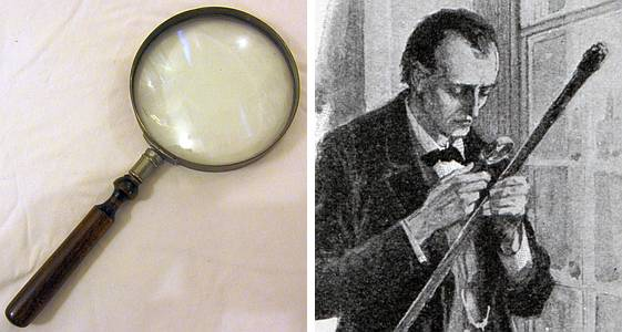 Sidney Paget's magnifying glass and a related Sherlock Holmes illustration