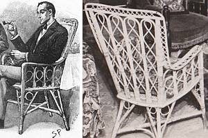 Sidney Paget's own wicker chair and illustration at 221B Baker Street