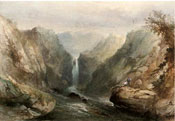 Painting of Angling below the waterfall by Sidney Paget