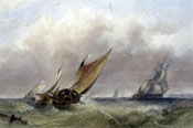 Painting of Dutch fishing boats and other shipping off the coast by Sidney Paget