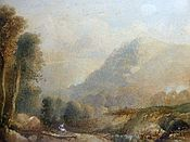 Painting of Figure in a Highland Landscape / Hillside View by Sidney Paget