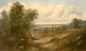 Painting of Figures resting in an extensive landscape by Sidney Paget