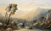 Painting of Figures by a river with mountains beyond by Sidney Paget