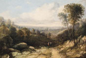 Painting of Figures on a track in an extensive wooded landscape by Sidney Paget