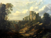 Painting of Figures on an upland track before a ruined castle by Sidney Paget