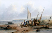 Painting of Fisher folk by beached boats by Sidney Paget