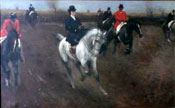 Painting of Hunting scene with woman rider by Sidney Paget