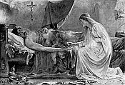 Illustration of Lancelot and Elaine painting by Sidney Paget