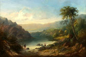 Painting of Landscape with fishermen by Sidney Paget
