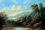 Painting of a Mountainous landscape by Sidney Paget