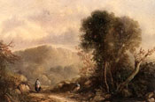 Painting of Peasant women along a track in a landscape by Sidney Paget