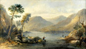 Painting of River landscape with anglers by Sidney Paget