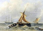 Painting of Stormy seascapes with sailing vessels in a heavy swell by Sidney Paget
