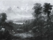 Painting of Travellers in an extensive river valley landscape by Sidney Paget