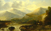 Painting of Travellers with a horse in a mountainous river landscape by Sidney Paget
