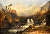 Painting of Two figures on a rock beside a waterfall in a glen by Sidney Paget
