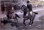Sidney Paget drawing of a man and a child on galloping horses
