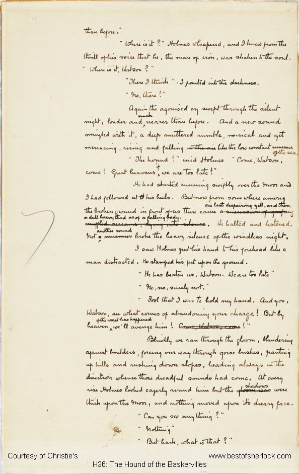 ms leaf from hound of the baskervilles christie s  hound of the baskervilles manuscript chapter 12 leaf h36