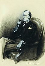 Original Sidney Paget Drawing: Portrait of Holmes (B)