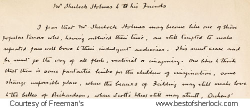 manuscript of conan doyle farewell to sherlock holmes man s  mr sherlock holmes to his friends photo of top of original manuscript
